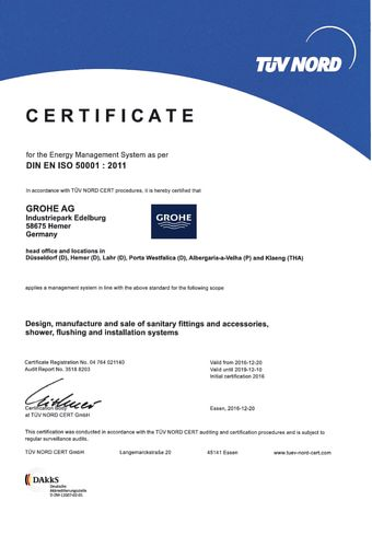 Tüv Nord Düsseldorf grohe certification iso 50001 responsibility about company